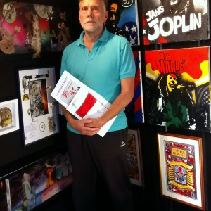 Surrealist artist and Bad Art supporter Peter Harris at the Skipton Bad Art exhibition 2017