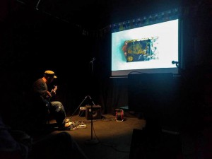 citiZen bXtr live-scoring Jane Lawson's short film at the Bad Art Protest Showcase in Leicester 2017
