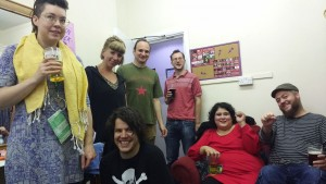 Acts in the green room at the Bad Art Protest Showcase in Leicester 2017